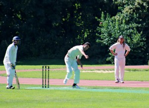 Maihwand Khan`s first ball for MCC. Altmann double teapots © Philip Crebbin