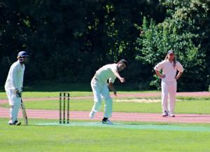 Maihwand Khan`s first ball for MCC. Altmann double teapots © Philip Crebbin