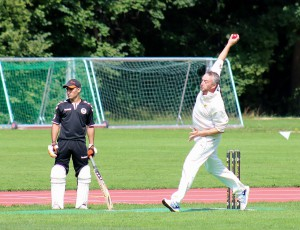 Deverill with a good straight arm delivery © Philip Crebbin