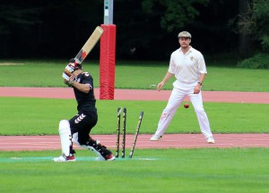 The bails fully dislodged, the captain`s cap looks on © Philip Crebbin