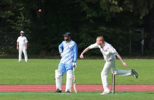 Barrett bowls the last MCC ball of the season at home © Philip Crebbin