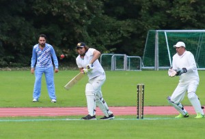 Batsman Khan Mahmud and keeper Waleed Basit look somewhat frightened © Philip Crebbin